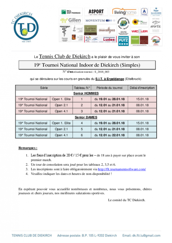Invitation au 19ième Tournoi National Indoor du TC Diekirch